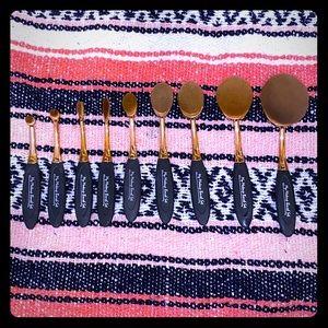 Rose Gold Paddle Makeup Brush Set